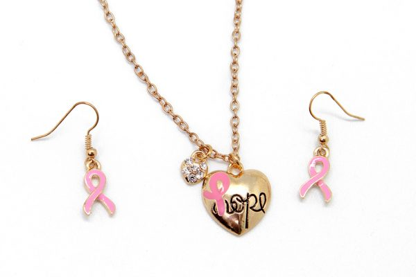 Jewellery Sets: Hope Necklace with Pink Ribbon Earrings