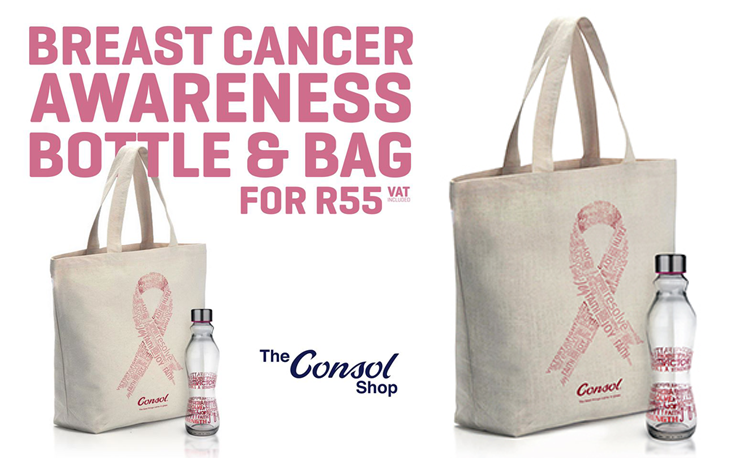 Consol breast cancer awareness bottle and bag